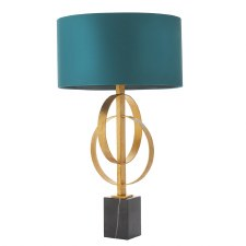 Highcliffe Table Lamp Antique Gold Leaf & Teal Shade