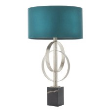 Highcliffe Table Lamp Antique Silver Leaf & Teal Shade