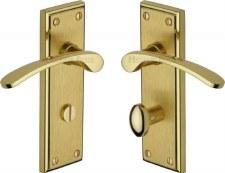 Heritage Hilton Bathroom Door Handles HIL8630 Satin & Polished Brass