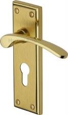 Heritage Hilton Euro Lock Door Handles HIL8648 Satin & Polished Brass