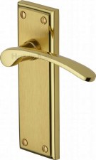 Heritage Hilton Latch Door Handles HIL8610 Satin & Polished Brass