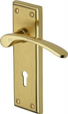 Heritage Hilton Door Lock Handles HIL8600 Satin & Polished Brass