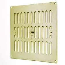 "Hit and Miss Air Vent 9"" x 9"" Polished Brass Unlacquered"
