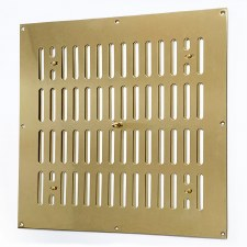 "Hit and Miss Air Vent 12"" x 12"" Polished Brass Unlacquered"