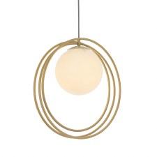 Hoop Pendant 1 Light Brushed Gold & Opal Glass