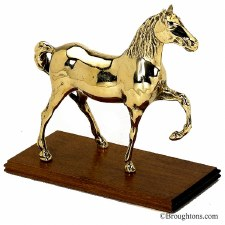 Horse on Stand Polished Brass