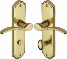 Heritage Howard Bathroom Door Handles HOW1330 Polished Brass Lacq