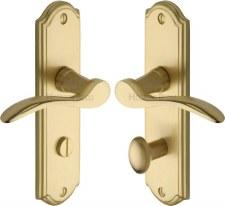 Heritage Howard Bathroom Door Handles HOW1330 Satin Brass Lacquered