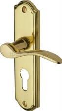 Heritage Howard Euro Lock Door Handles HOW1348 Polished Brass Lacq