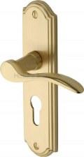 Heritage Howard Euro Lock Door Handles HOW1348 Satin Brass Lacquered