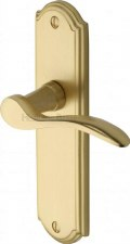 Heritage Howard Latch Door Handles HOW1310 Satin Brass Lacquered