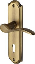 Heritage Howard Door Lock Handles HOW1300 Antique Brass Lacquered