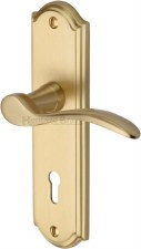 Heritage Howard Door Lock Handles HOW1300 Satin Brass Lacquered