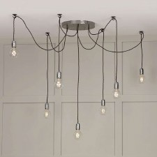 David Hunt HUC3439 Huckleberry 7 Light Cluster Pendant Lead Grey