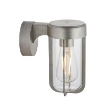 Hurn Wall Light Brushed Silver Clear Glass E27
