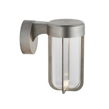 Hurn Wall Light Brushed Silver Clear Glass LED