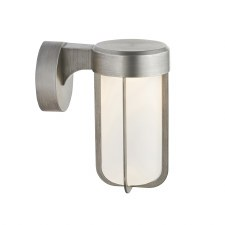 Hurn Wall Light Brushed Silver Frosted Glass LED