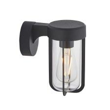 Hurn Wall Light Matt Black Clear Glass E27