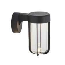 Hurn Wall Light Matt Black Clear Glass LED