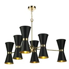 David Hunt HYD1222 Hyde 12 Light Pendant Polished Brass with Black Shades