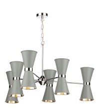 David Hunt HYD1239C Hyde 12 Light Pendant Chrome with Powder Grey Shades