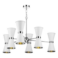 David Hunt HYD1202C Hyde 12 Light Pendant Chrome with Arctic White Shades