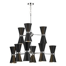 David Hunt HYD1822C Hyde 18 Light Pendant Chrome with Black Shades