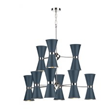 David Hunt HYD1823C Hyde 18 Light Pendant Chrome with Smoke Blue Shades