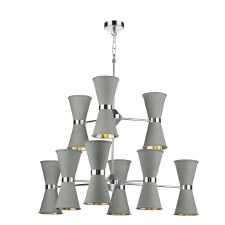 David Hunt HYD1839C Hyde 18 Light Pendant Chrome with Powder Grey Shades