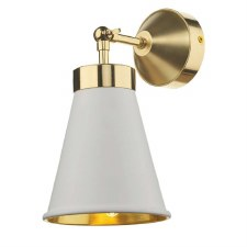 David Hunt HYD0702 Hyde Single Wall Light Polished Brass with White Shades
