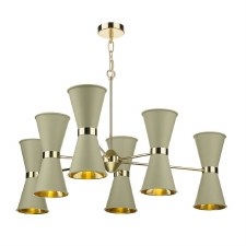 David Hunt HYD062 Hyde 6 Light Pendant Polished Brass with Pebble Shades