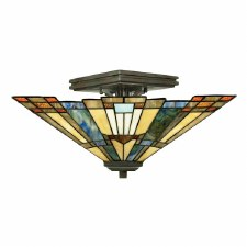 Quoizel Inglenook Tiffany Semi Flush Light Valiant Bronze