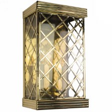 Ivy Large Flush Outdoor Wall Lantern Polished Brass Unlacquered