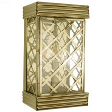 Ivy Flush Outdoor Wall Lantern Small Polished Brass Unlacquered