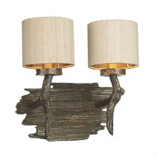 David Hunt JOS0901 Joshua Double Wall Light with Taupe Silk Shades