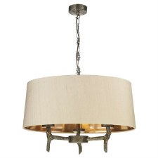 David Hunt JOS5301 Joshua 3 Light Shaded Pendant Taupe Silk Shade