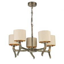 David Hunt JOS0501 Joshua 5 Light Pendant with Taupe Silk Shades