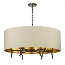 David Hunt JOS0601 Joshua 5 Light Shaded Pendant with Taupe Silk Shade
