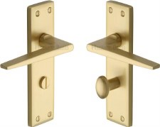 Heritage Kendal Bathroom Door Handles KEN6830 Satin Brass Lacquered