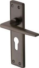 Heritage Kendal Euro Lock Door Handles KEN6848 Matt Bronze