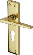 Heritage Kendal Euro Lock Door Handles KEN6848 Polished Brass Lacq