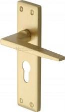 Heritage Kendal Euro Lock Door Handles KEN6848 Satin Brass Lacquered