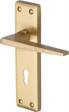 Heritage Kendal Door Lock Handles KEN6800 Satin Brass Lacquered