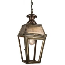 Kensington Hanging Pendant Lantern with Single Light, Light Antique Brass