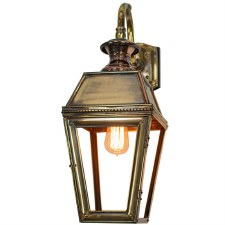 Kensington Overhead Arm Outdoor Wall Lantern, Light Antique Brass