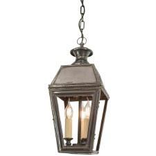 Kensington Pendant Lantern with 3 Light Cluster Antique Brass