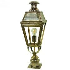 Kensington Short Pillar Lamp Light Antique Brass
