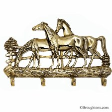 Horses Key Rack Polished Brass