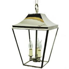 Knightsbridge Hanging Pendant Lantern with 3 Cluster Lights, Polished Nickel