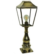 Knightsbridge Outdoor Pillar Lamp Tall Light Antique Brass